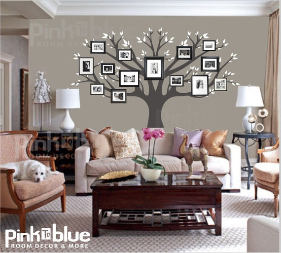 family tree wall decal picture frame tree by pinktoblue on etsy. Black Bedroom Furniture Sets. Home Design Ideas
