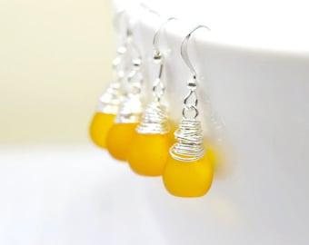 Sunshine Yellow Bridesmaids Earrings, Freesia Bridesmaids Jewelry Mango, Sunflower, Honey Yellow Wedding Jewelry Bridal Party Gifts