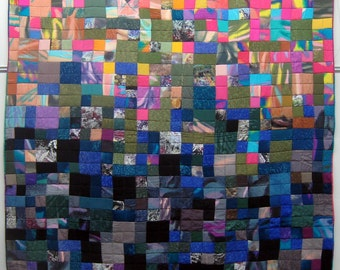 """Silk quilt, queen size 92""""x95"""", made from painted silk, lined with the raw silk"""
