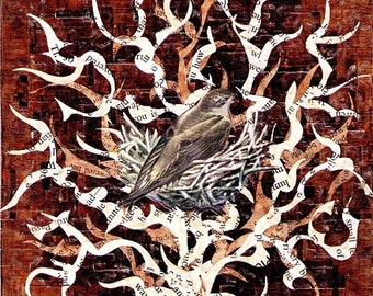 Palimpsestuous / bird's nest / print of an original collage by Philip Lightweis-Goff