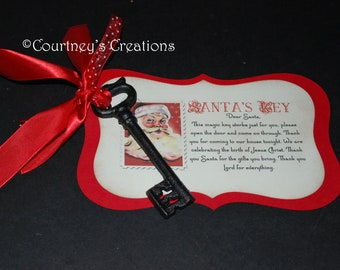 Brass Santa's Key with Religious Poem