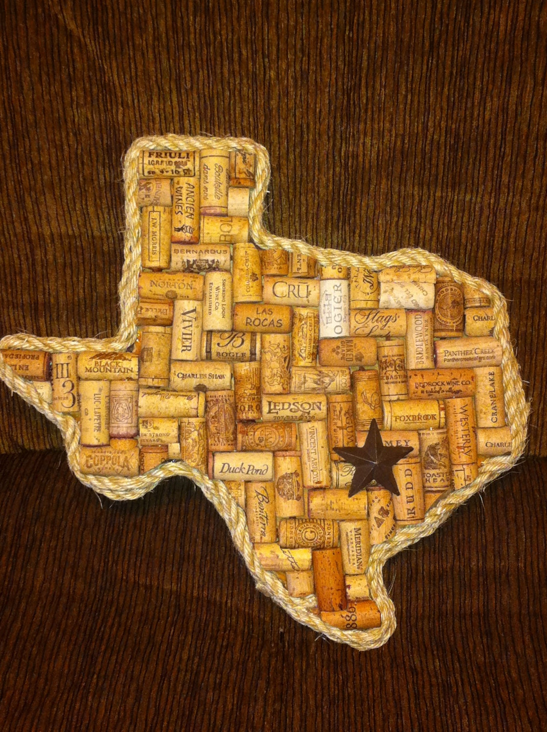 Texas or any state wine cork art for Cork ideas