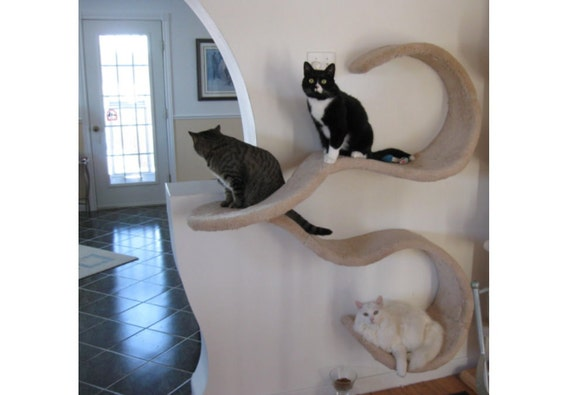 Double Wave Wall Mounted Cat Shelf