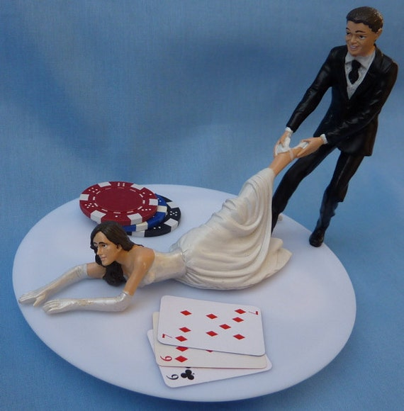 Wedding Cake Topper Poker Blackjack Card Playing Bride By WedSet