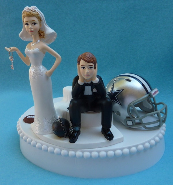 Wedding Cake Topper Dallas Cowboys Football Themed Ball And