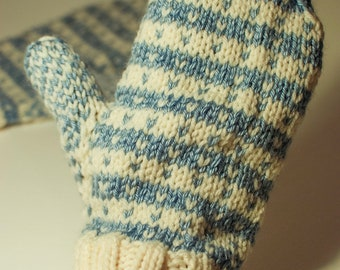 Blue and Cream Striped Mittens