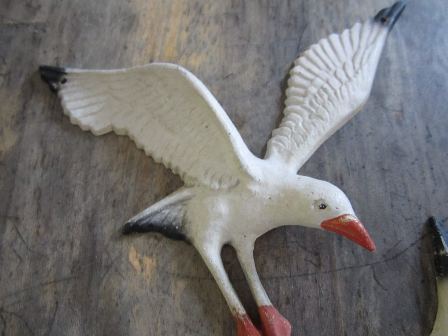 RESERVED Flying Seagull Figurine Metal Birds Wall Display
