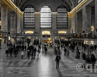 Grand Central Station in black and white hand colored