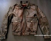 Vintage Leather Biker Jacket with fur inner lining and removable collar
