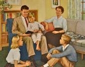 Religious Lithograph - Family Prayertime - Dorothy Handsaker