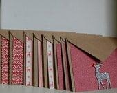 Reindeer Christmas Card Set - Red & White