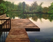 RESERVED: Original Fishing Painting, Realistic Pond Landscape