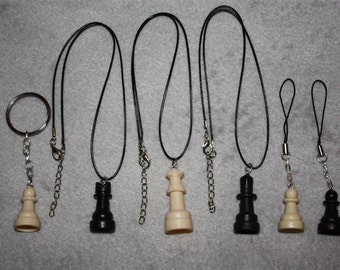 Chess Piece Necklace, Cell Charm, Keychain, Earrings, Choker, or Audio Jack Plug - SELECT STYLE