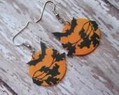bat earrings vintage Halloween ephemera tree branch black gold orange moon dangle