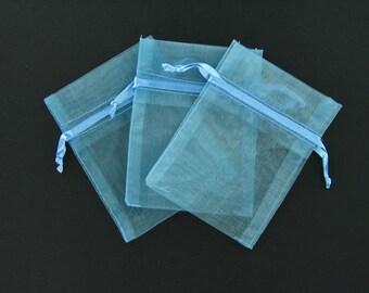 Smoke blue organza bags 3 inch x 4 inch 12 pieces