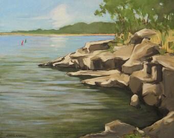 Original oil seascape painting showing rocky shoreline - 16x20 - Landscape