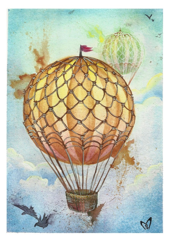 Items similar to Hot Air Balloon Watercolor Print on Etsy