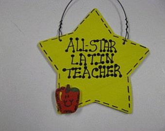 Teacher Gifts Yellow Star w/Apple All Star Latin Teacher