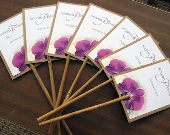 Passion Purple Orchid Destination Beach Wedding Bamboo Stick Program Fan - Customize