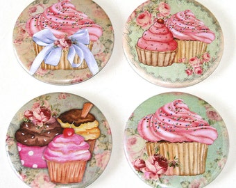 Pink Cupcakes - Set of 4 Large Fridge Magnets