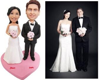 pink heart  custom handmade wedding cake topper  (Free Shipping Worldwide)