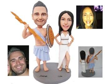 Zeus and Athena custom handmade wedding cake topper  (Free Shipping Worldwide)