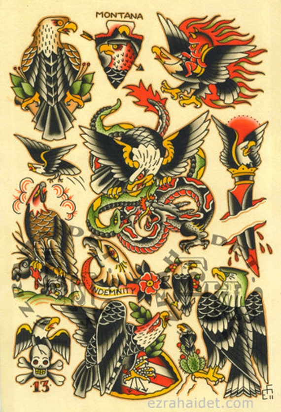American Traditional Skull And Eagle: Items Similar To Traditional Tattoo Flash Print 2011 Eagle
