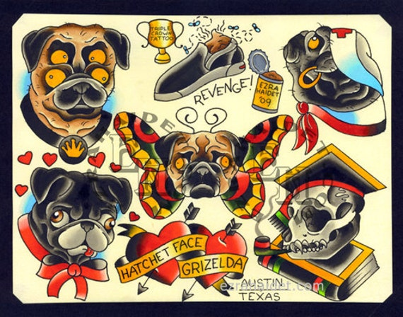 Items similar to Pug Dog Traditional Tattoo Flash Print ...
