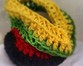 Rasta Inspired Neck Cowl/Scarf Yellow-Green-Red-Black-READY To Ship- JAMAICA - UrbanTeaTree