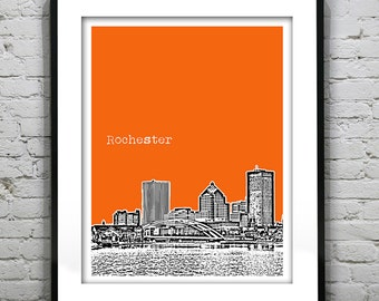 Rochester New York Skyline Art Print Poster NY Version 1