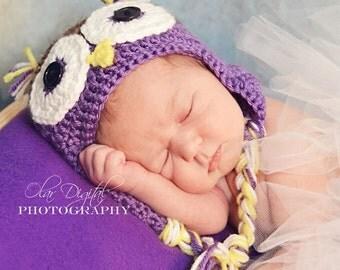 Newborn, Baby, Toddler, Preschool Owl Hat - Made to Order, Costume, Earflaps, Braids, Prop