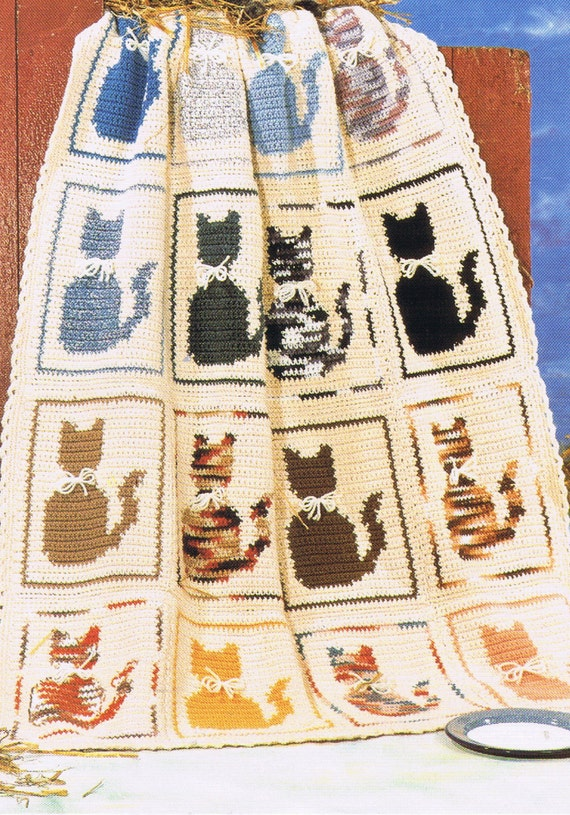 cat afghan crochet pattern/PDF /pet crochet animal crochet