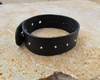 Silver Studded Leather Cuff Bracelet