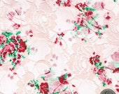 Sweet Pea Print Pink Lace Fabric by the Yard Table Runner, Curtain, Pillow, Arts, Crafts, Decoration - 1 Yard Style 195-PRT LACE