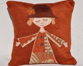 Cushion cover, decorative pillow, girl with brown hat, autumn colors, kids appliqué pillow, decoration sofa, unique room decor, handmade. - AgaArtFactory