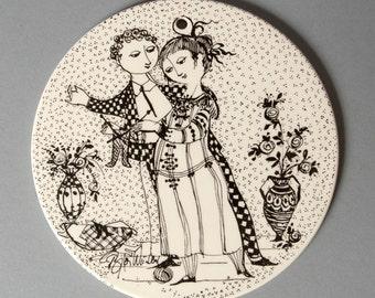 bjorn wiinblad plate nymolle november black denmark fajance danish optimisme vintage retro collectible rosenthal
