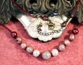 Crimson Mermaid - brass, wire mesh, pearl, and garnet necklace