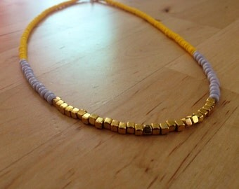 Yellow, Light Purple, and Gold Color Block Seed Bead Necklace