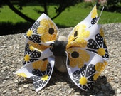 Girl's Hair Bow (Black and Yellow Flowers) Large Pinwheel Bow