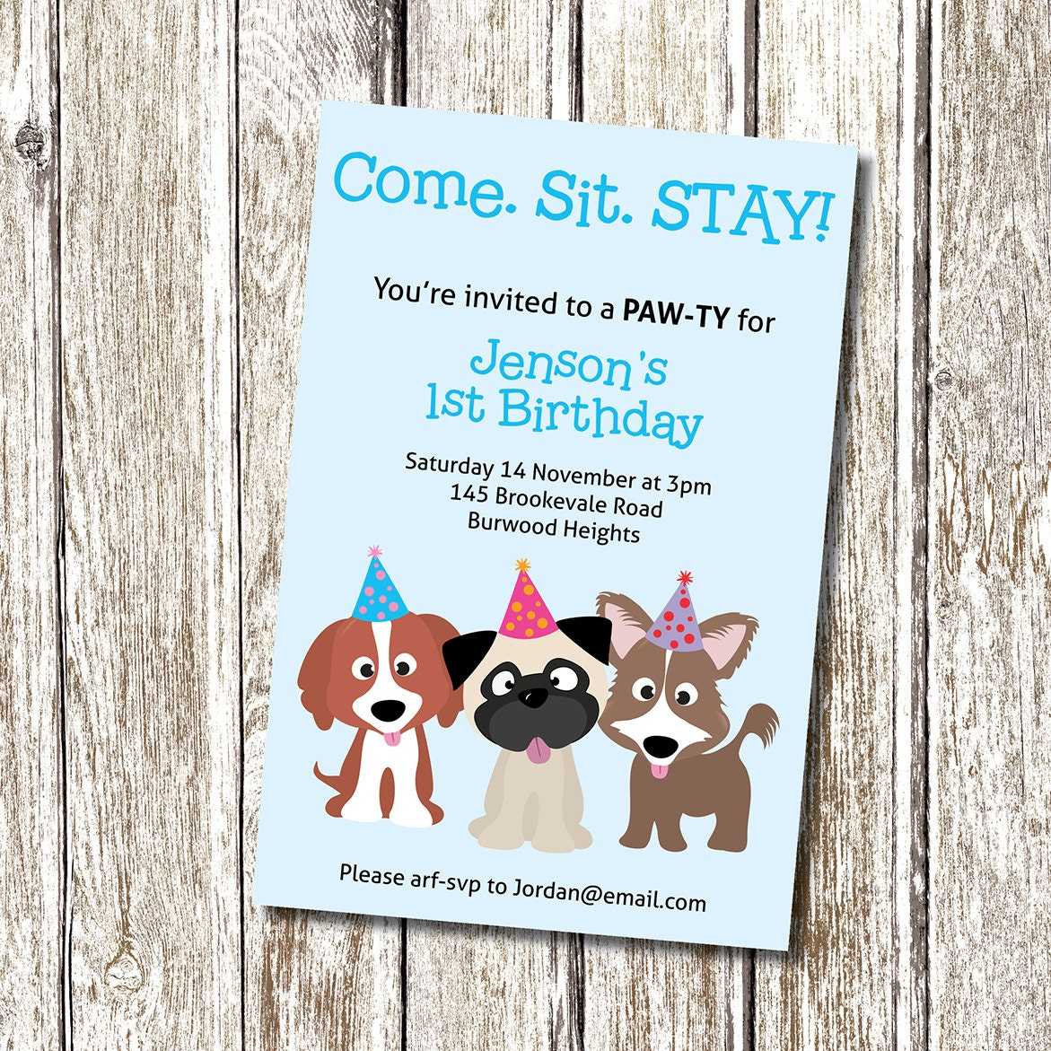 puppy party invitation. come sit stay printable by deedubdesigns, Party invitations