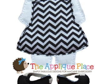 Dress Up Doll * Jumper and Flats * Paperless Unpaper Cloth doll outfit In The Hoop ITH Machine Embroidery Applique Design