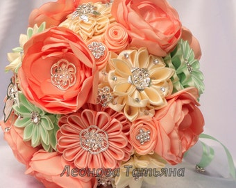 """Fabric Wedding Bouquet, brooch bouquet """"Peach and mint"""", Peach, Green and White"""