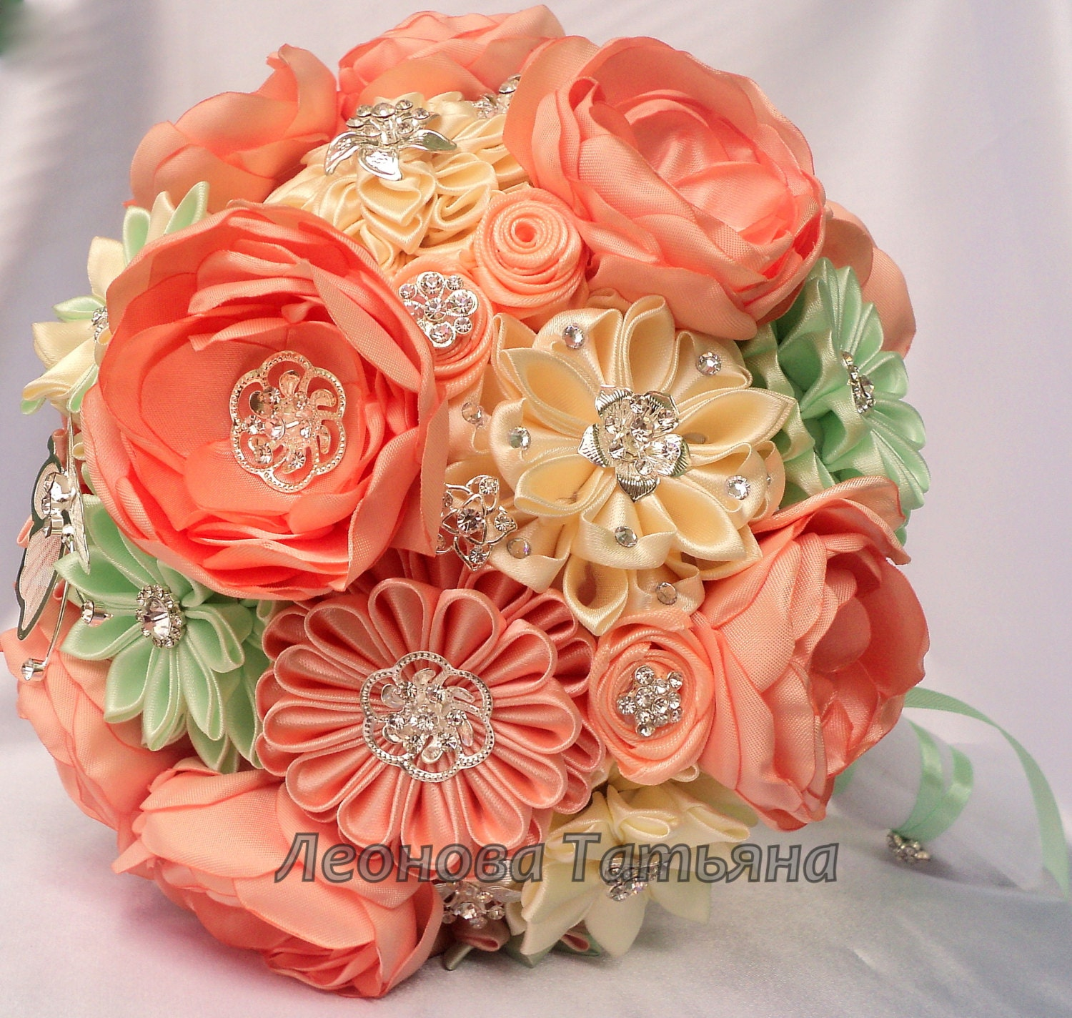 Fabric Wedding Bouquet Brooch Bouquet Peach And