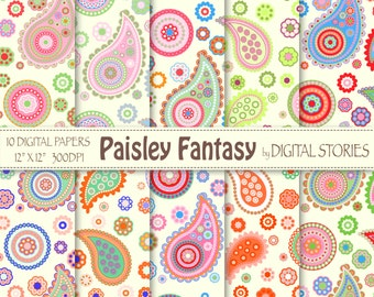 """Paisley Digital Paper: """"PAISLEY FANTASY 1"""" Scrapbook paper with colorful paisley for invites, cards, background"""