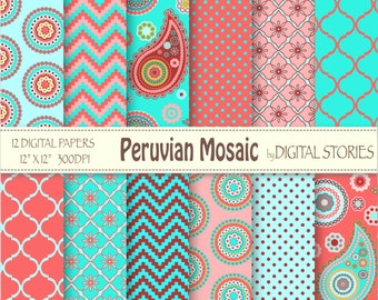 "Paisley Digital Paper: ""PERUVIAN MOSAIC"" Red Turquoise Pink paisley scrapbook paper for invites, cards, background"