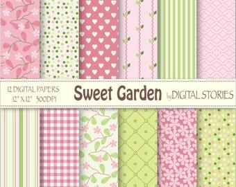 """Floral Digital Paper: """"SWEET GARDEN"""" Pink Green Floral Stripes Digital Scrapbook Paper Pack for cards, invites, crafts"""
