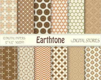 "Morocccan Digital Paper: ""EARTHTONE"" Orange Brown Beige Green scrapbook Moroccan style papers for invites, cards, crafts"