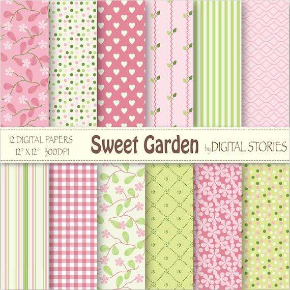 Floral Digital Paper Sweet Garden Pink Green