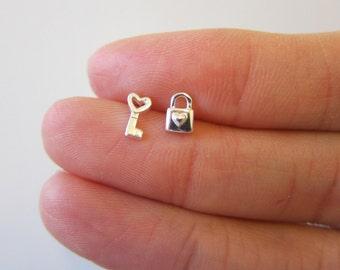 Tiny Sterling Silver Key Lock Stud Earrings, Cute Earrings.