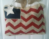 Chevron burlap flag door hanger